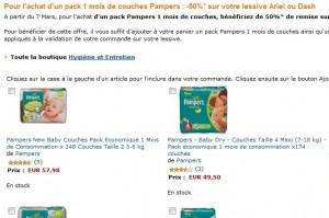 1 pack un mois de couches Pampers acheté = moins 50% sur lessive Ariel ou Dash