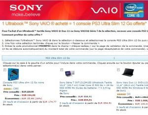 1 PC portable Sony acheté = 1 console PS3 gratuite