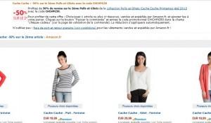1 Pull ou Gilet Cache-Cache acheté = le second à moitié prix (code promo)