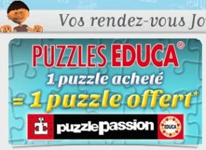 1 Puzzle Educa acheté = 1 Puzzle gratuit (immédiatement) chez JouéClub