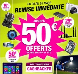 De 10, 25 à 50 euros de réduction pour 200 euros et plus d'achat chez Pixmania