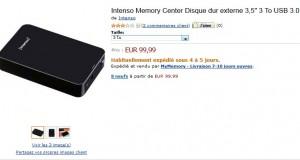 """100 euros le disque dur externe 3 To 3,5"""" USB 3.0 Noir (livraison gratuite)"""