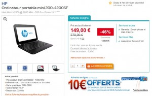 super promo netbook hp 200 4200sf a moins de 150 euros au lieu de 250 euros. Black Bedroom Furniture Sets. Home Design Ideas
