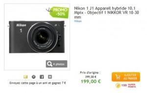 190 euros Appareil photo hybride Nikon 1 J1 + Objectif 1 Nikkor VR 10-30 mm