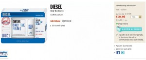 24,95 euros le Coffret Diesel Eau de Toilette Only the brave homme + gel douche