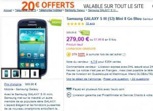 le plus bas prix Samsung GALAXY S III Mini 8 Go débloqué livré