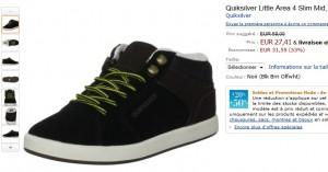 27, 41 euros les chaussures Quiksilver Little Area 4 Slim Mid