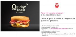 30 euros chez Quick pour 15 euros seulement