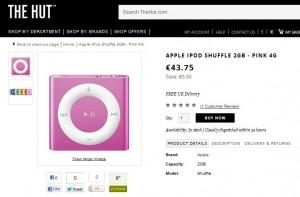 43, 75 euros l'iPod Shuffle 2Go Rose Apple (4eme Generation) - livraison gratuite