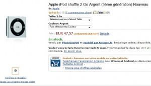 47,57 euros l'iPod Shuffle 2Go Argent Apple (5eme Generation)