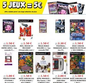 5 jeux vidéo pour 5 euros – Soldes CDiscount