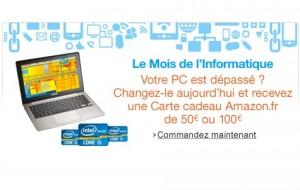 50 ou 100 euros offerts sur l'achat d'un PC chez Amazon