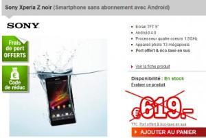 594 euros Sony Xperia Z (port inclus)- sans abonnement / débloqué tout operateurs