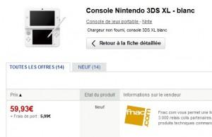 65,92 euros la Console Nintendo 3DS XL FNAC