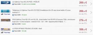 LG Optimus True HD LTE au plus bas prix