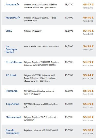 Répéteur Universel Wifi-N 300 Netgear WN3000RP-100FRS vendu au plus bas prix