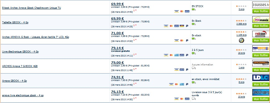 Tablette Liseuse Arnova 7 G-BOOK 4go ARCHOS vendu moins cher