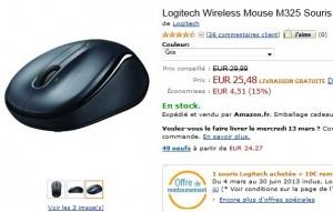 Logitech Wireless Mouse M325 Dark Silver moins chère chez Amazon