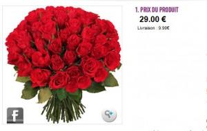 Bouquet de 50 roses rouges à seulement 38,90 euros livré