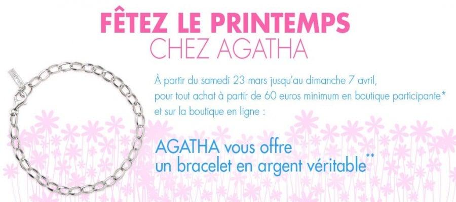 Bracelet en argent gratuit pour 60 euros d'achats dans boutiques Agatha