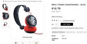 Casque WESC Conga à 13,75 euros (port inclus) – minimum le double ailleurs