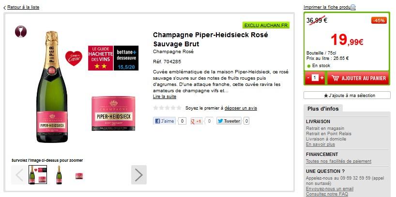 Champagne Piper-Heidsieck Rosé Sauvage 19,99 euros