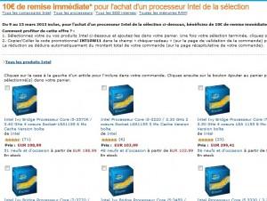 Code promo 10 euros sur l'achat d'un processeur Intel