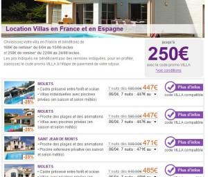 Code promo 100 et 250 euros de réductions sur location d'une villa