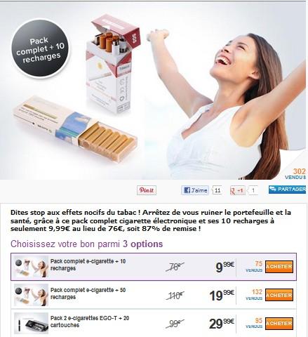 Deal : Pack Cigarette électronique + 50 recharges