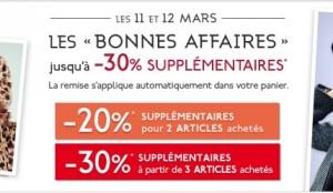 Galeries Lafayette : -20% sup. pour 2 articles achetés / -30% sup. pour 3 articles