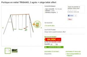 Balançoire Trigano 4 enfants + siège bébé gratuit à seulement 89,95 euros (livré)