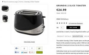 MOITIE PRIX : Grille-pain Grunding Noir/Acier à  24,99 euros (port inclus) au lieu de 50 euros