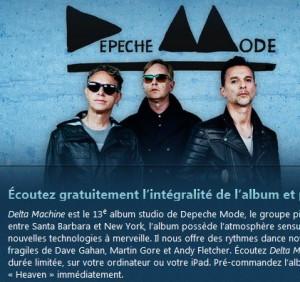 Nouvel album de Depeche Mode à écouter gratuitement sur Itune
