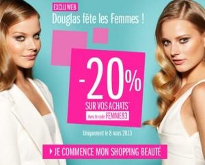 Parfumerie Douglas -20% sur tout le site toutes la Journée des Femmes