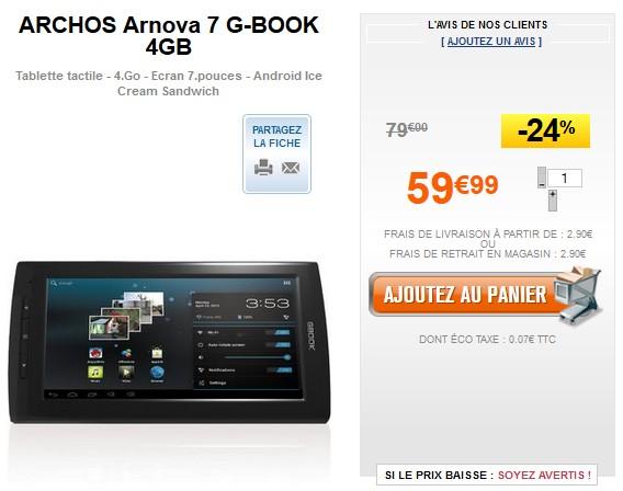 promo tablette liseuse arnova  g book go archos a euros
