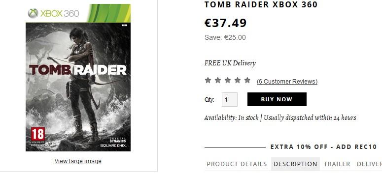 Tomb raider xbox 360 moins de 35 euros port inclus - Code promo king jouet frais de port gratuit ...