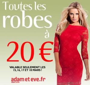 Toutes les robes à 20 euros jusqu'à lundi soir ! Adam&Eve