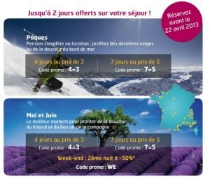 Vacances Clubs Mer ou Montagne : 2 nuits offertes sur un séjour de 7 nuits / 1 nuit offerte sur un séjour de 4 nuits