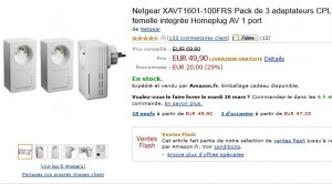 Vente Flash : 50 euros le lot 3 adaptateurs CPL Netgear Powerline 200 Mbit/s Nano