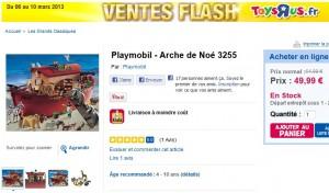 Vente Flash Arche de Noé Playmobil 58,49 euros (port inclus). Vendue plus de 70 euros ailleurs.