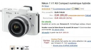 Vente Flash : Kit Compact numérique hybride Nikon 1 V1 + objectif Nikkor 10-30 mm a seulement 289 euros