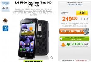 Vente flash téléphone 4G LG P936 Optimus True HD LTE noir à 251,90 euros seulement