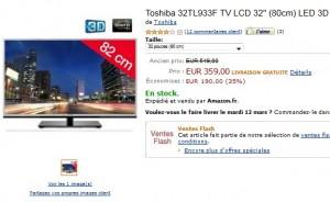 Vente flash tv led 3d 80cm toshiba seulement 359 euros port inclus - Vente flash televiseur ...