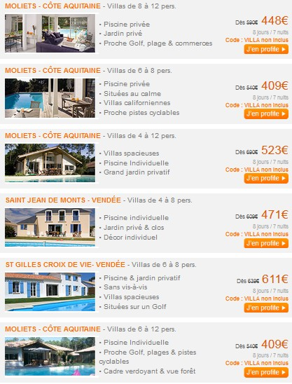 villas locations bon plan