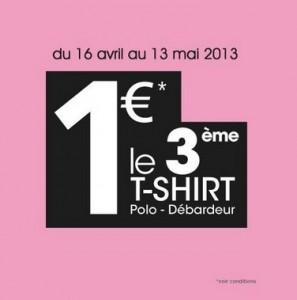 Promo La Halle : 2 T-shirts achetés = le 3ème à 1 euro