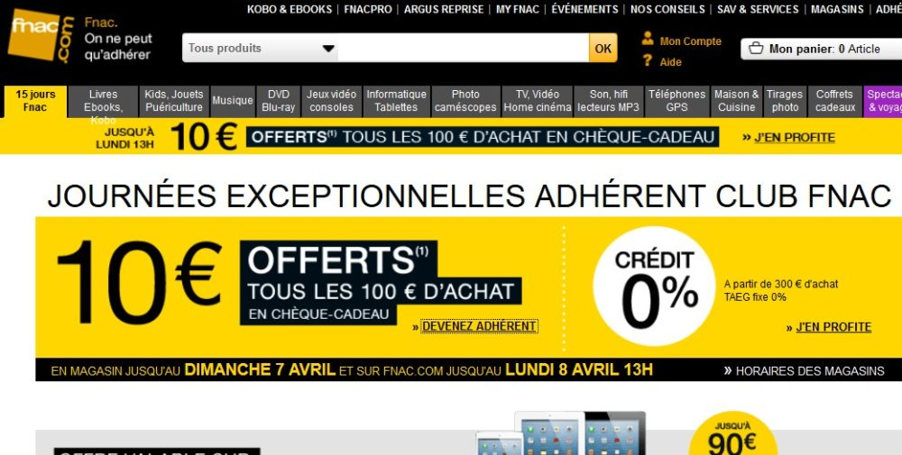 fnac 10 euros de ch que cadeau offert tous les 100 euros d achat. Black Bedroom Furniture Sets. Home Design Ideas