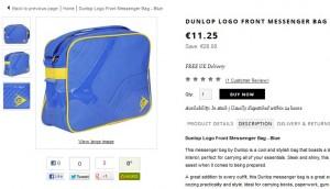 10,13 euros le sac bandoulière Dunlop (port inclus)