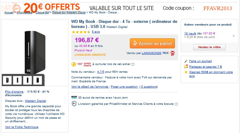 177 euros le disque dur externe 4to western digital promo. Black Bedroom Furniture Sets. Home Design Ideas