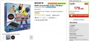 179,99 euros le Pack PS3 12 Go + PS Move + jeu Sports Champions 2 (livraison gratuite)