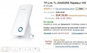 29,90 euros Répéteur Wi-Fi TP-Link 300Mbps – port inclus